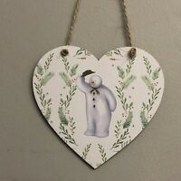 The Snowman Handmade wooden hanging Heart Christmas Decoration 10cm