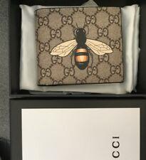 GUCCI Mens GG Beige Supreme Bee Bifold Card Wallet
