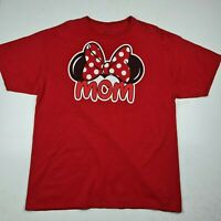 Disney Minnie Mouse Women's Size XL (16/18) Mom T-Shirt Red Signature Bow - SG09