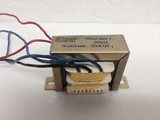 12V Transformer  12V-0-12V  CT  2 AMP, 2000mA  110VAC  to 12VAC, 24VAC TRUE AMPS