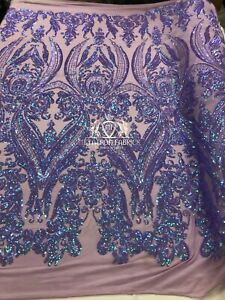 New Iridescent Lilac 4 Way Stretch Sequins Fabric Lace Dress-Gown-Prom By Yard