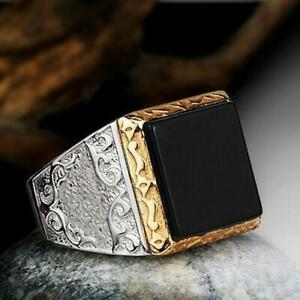 MEN'S RING in Solid Silver 925 with Natural Square Black ONYX Turkish Jewelry