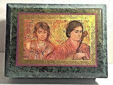 Trinket Jewelry Box Polished Granite Stone ,Tropical Green, Girls w/ instruments