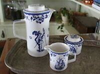 Johnson Brothers Holland Blue Ironstone Pitcher/Pot with Sugar Bowl & Creamer