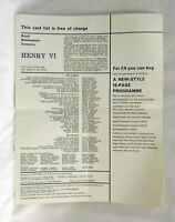 Vintage RSC Cast List x 3 - Richard III  Edward IV  Henry VI  Peter Hall