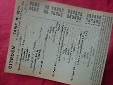 tarif CITROEN ancien N° 78 bis de 1951 2CV traction 11 et 15 type 23 45