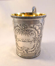 Great Tiffany Coin Silver Lg Etched Cup W/ Greek Key Trim Design-4""