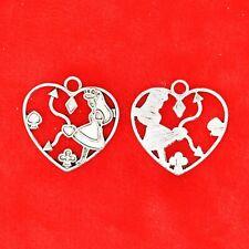 5 x Tibetan Silver Alice In Wonderland Love Heart Clock Porker Charms Pendants