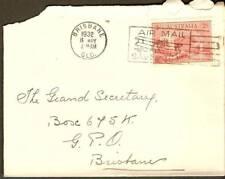 1932 Australia Air Mail Saves Time Bi-Plane Slogan QLD
