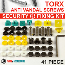 41x NUMBER PLATE CAR FIXING SECURITY SCREWS & CAPS HINGED PLASTIC COVER CAPS KIT