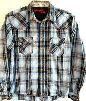 Wrangler-Mens Long Sleeve Western Cowboy Pearl Snap Shirt, Large, Blue Plaid