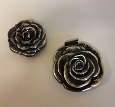 Set Of 2 Black And Gold Rose Mirror Compacts!
