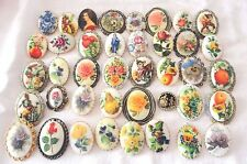 1960s/70s Vintage Craft Jewelry Cameo Pin Lot 40 PC Floral Animals Portrait