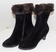Vintage 50s 60s Black Velveteen High Heel Boots Faux Fur Trim Size 7