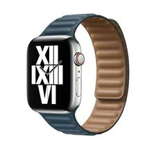 Genuine Apple Watch Leather Link Strap Band 42mm / 44mm - M / L - Baltic Blue