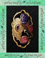 Cloisonne Floral Flower Brooch Shawl Pin Signed UK Fish Enamel Vintage Jewellery