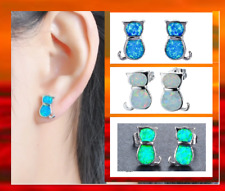 Sterling Silver Fire Opal Blue Green White Kitty Cat Kitten Stud Ear Earrings UK