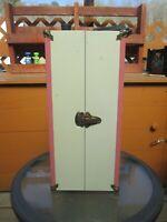 """Vintage Pink 16"""" Metal Doll Wardrobe Case Steamer Trunk 1950's  for Ginger Doll"""