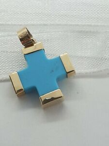 14k Yellow Gold Turquoise Cross Pendant - Unique and Unusual