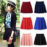 Women Skirt Stretch Waist Plain Skater Flared Pleated Solid Color Summer Skirts