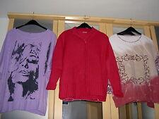 3 tolle Teile, 2x Damen Langarm-Shirts lila, bunt, 1 Strickjacke pink, Gr. 50/52