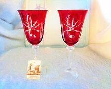 2 VETRO ESEQUITO SECONDO LA TECNICA DEI MAESTRI DI RED WINE GLASSES MURANO ITALY