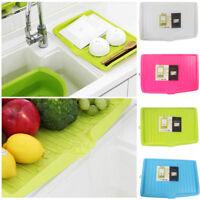 Plastic Worktop Dish Drainer Drip Tray Large Kitchen Sink Drying Rack Holder UK