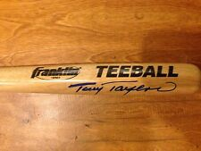 "Tony Taylor Signed Autograph Franklin Tee Ball Wood Baseball Bat 27"" Phillies"