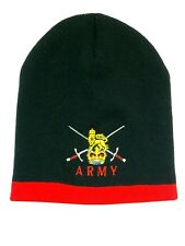 British Army Rugby Football Embroidered Beanie - Black and Red - Made in UK