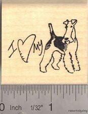 "Fox Terrier Dog ""love""  Rubber Stamp G13002"
