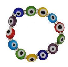 Handmade Crystal Multi Color Turkish Evil Eye Lampwork Jewelry Bead Bracelet
