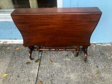 Antique English Mahogany Drop Leaf Table Castors