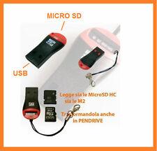 Pennino adattatore.Micro SD,M2,SDHC - USB 2.0. Per PC & notebook,laccio omaggio.