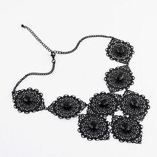 Ornament Collier schwarz Srass Blogger Kette Groß Statement Halskette Punk NEU