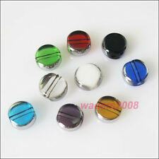 40 New Charms Silver Edge Glass Round Flat Spacer Beads Mixed 6mm