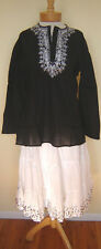 New_Boho_Peasant_Black Cotton Tunic Top_White Embroidery_S,M,L,XL_Beautiful