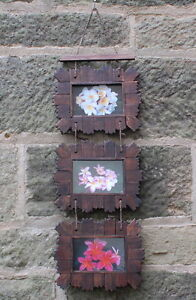 Wooden Shabby Chic Rustic Driftwood Triple Hanging Photo Picture Frame-6x4 80cm