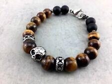 Armband Tigerauge Skull Biker matt schwarz Perlen Männer Schädel Gothic  A_3