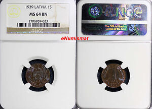 Latvia Bronze 1939 1 Santims NGC MS64 BN Rainbow Toned KM# 10