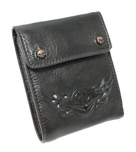 Harley Mens Compression Fold H-D Flames Brown Leather Wallet [HDMWA10702]