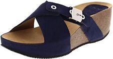 Ladies Scholl Elon NAVY BLUE  Suede Platform Wedge Slip on Sandals Slides UK 6