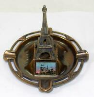 Vintage Paris Eiffel Tower Bronze Trinket Dish Coin Dish Ashtray Travel Souvenir