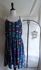 NWT Disney Parks Dress Shop Large It's A Small World Signs Dress with Bag