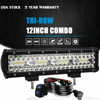 12inch Led Light Bar Tri-Row Combo Work Driving UTE Truck SUV 4WD Boat 14'' Wire