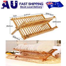 Folding Bamboo Dish Rack Drying Rack Holder Utensil Drainer (Wood Color) AU