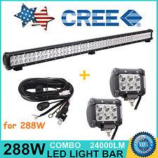 "44inch 288W CREE LED Work Light Bar Combo+ Wiring Kit+ 2X 4"" 18W Cree Spot Lamps"