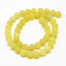 Natural Frosted Lemon Jade Loose Beads 6mm Round