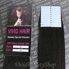 20pcs 22 inches Remy Seamless Tape Skin Weft Human Hair Extensions Dark Brown #2