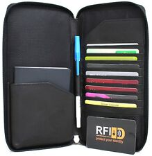 RFID Security Lined Leather Polyester Passport Wallet Protection from Scan Theft