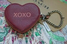 Coach LOVE Zip Round Coin Purse Wallet Red/Pink Leather BE MINE/XOXO RRP $98.00